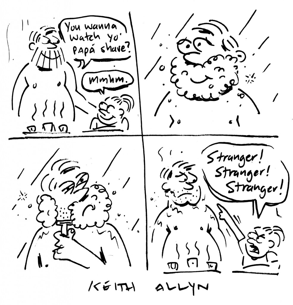 shaving, stranger, cartoon, keithallyn