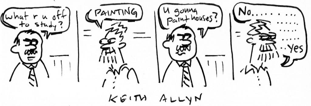 mfa painting, cartoon, keithallyn