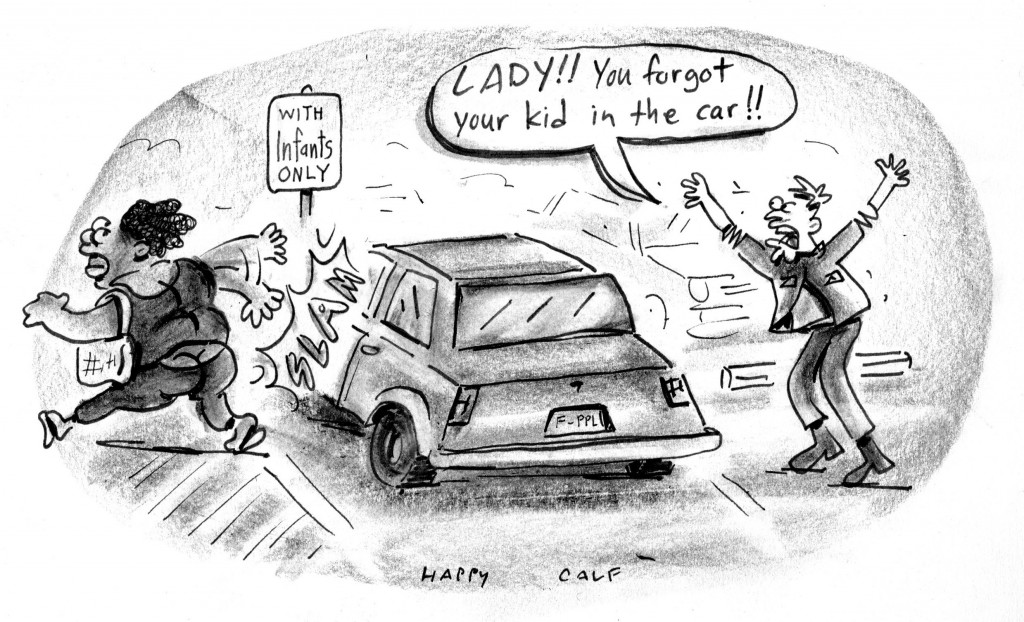 infant parking, cartoon, happycalf, keithallyn