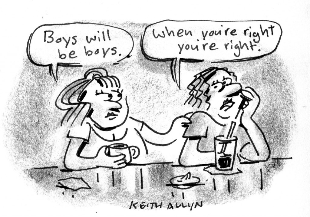 boys will be boys, when you're right you're right, cartoon, keithallyn